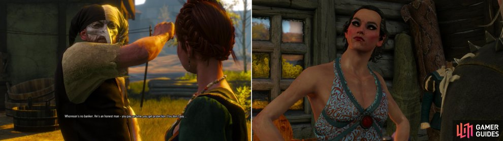 "Protect one of Dandelion's ""flowers"" from Whoreson Junior's thugs (left), then visit Elihal. A cross-dressing elf? Not that surprising, reall. Elves, amirite? (right)"