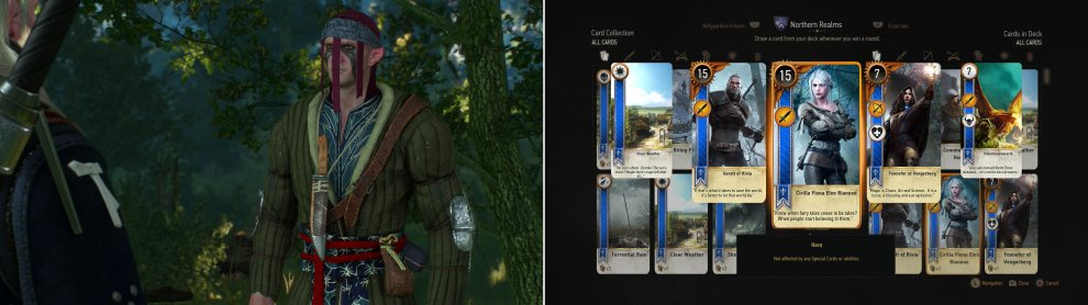 After hearing about him from Dijkstra, you'll be able to play Gwent with the Scoia'tael Merchant (left). Defeat him to win the Cirilla Fiona Elen Riannon Card (right).