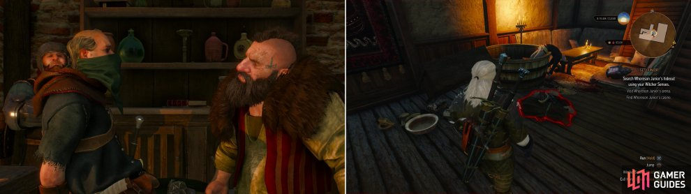 "You'll interrupt Cleaver conducting a bit of ""business"" (left). Searching Whoreson's hideout is an exercise in futility - and an example of what happens if you let over-eager Dwarves get to the scene first (right)."