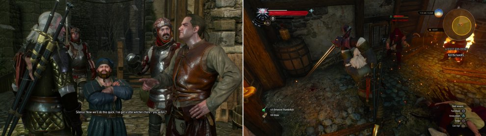 Somebody let a monster loose in a warehouse. Seems like work for a Witcher (left). Defeat Cleaver's henchmen to claim their treasure (right).