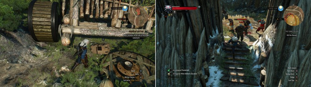 You can find some lucrative treasure near an abandoned siege tower (left). Kill the Bandits in a fort to find that, once again, the sword has eluded you (right).