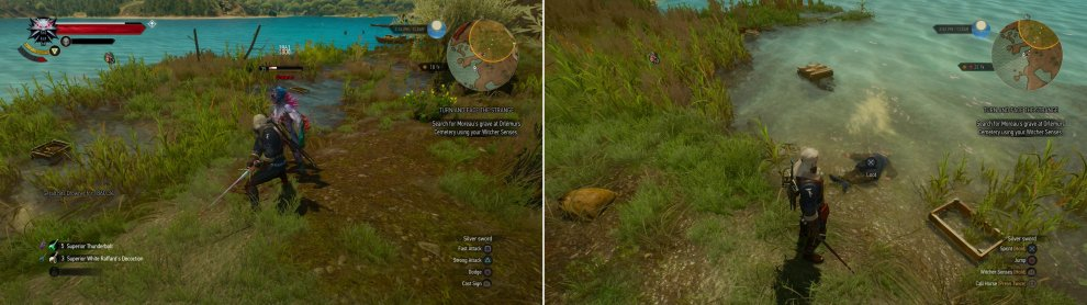 "Kill the Drowners by the shore (left) then search a body in the water to start the quest ""Treasure Hunt: The Last Exploits of Selina's Gang"" (right)."