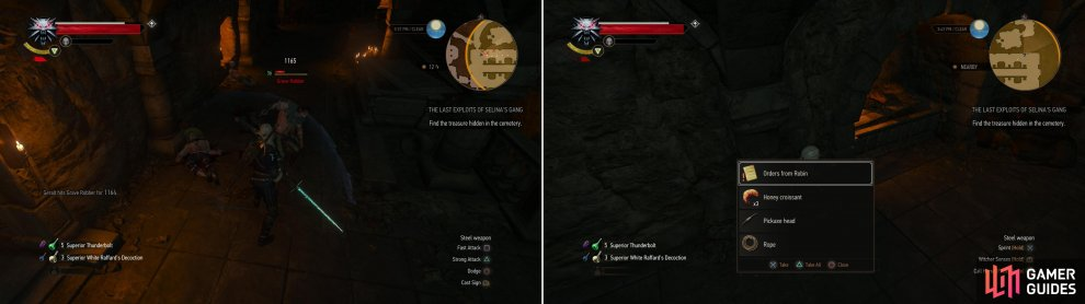 "Kill the bandits in the crypt (left) then search some sacks to find some ""Orders from Robin"" (right)."