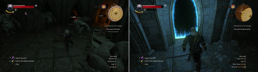 Defeat a Gargoyle (left) and claim its paw, then navigate the portals by entering them in the correct order (right).