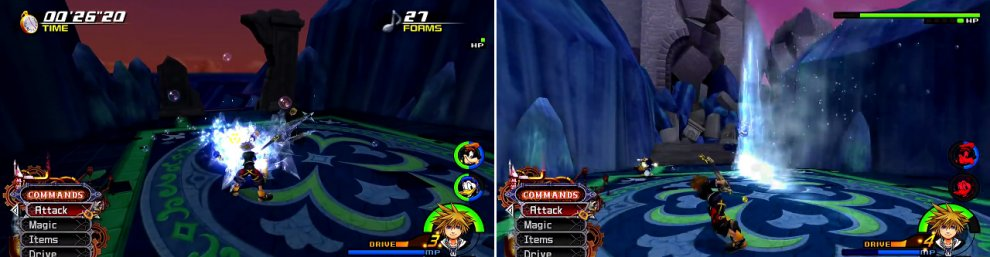 Deymx summons Forms (left) that you must defeat within the allotted time. Use Reaction Commands. Watch our for the water jets Demyx shoots out (right).