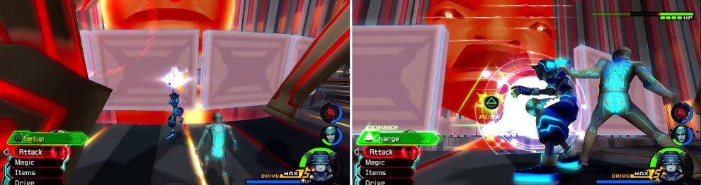 Destroy the wall to the core (left) so you can then use Delete (right) and do damage to the main program.