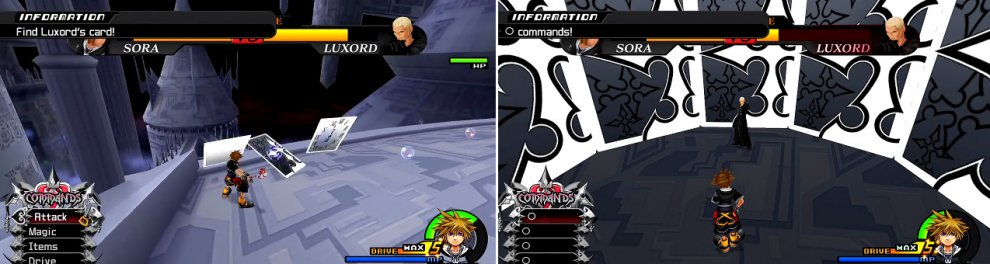 Watch when Luxord changes to know which card he is or swing the camera around when they are stood up to find him (left). You must get all Os at the end (right) and you must be fast or you will lose a lot of time.