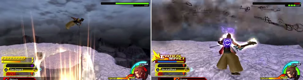 Xehanort uses the ground underneath you to launch you into the air (left). He also summons a storm of keyblades (right) that can be very damaging.
