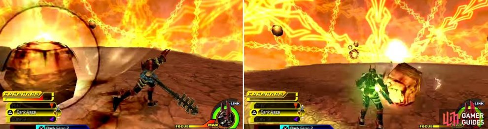 Xehanort summons fireballs that spring up from the ground (left) and then they will launch themselves at you (right) dealing massive damage.