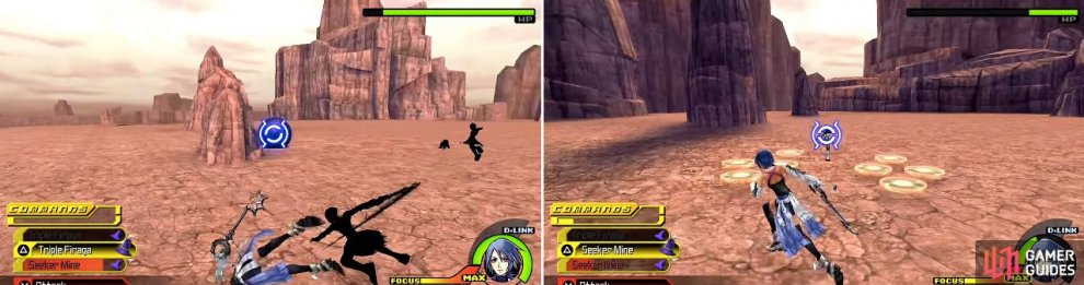 Aqua's cartwheel is especially good for dodging the incessant attacks (left). Seeker Mine (right) can also be an excellent way of getting some damage considering the difficulty in trying to attack him.
