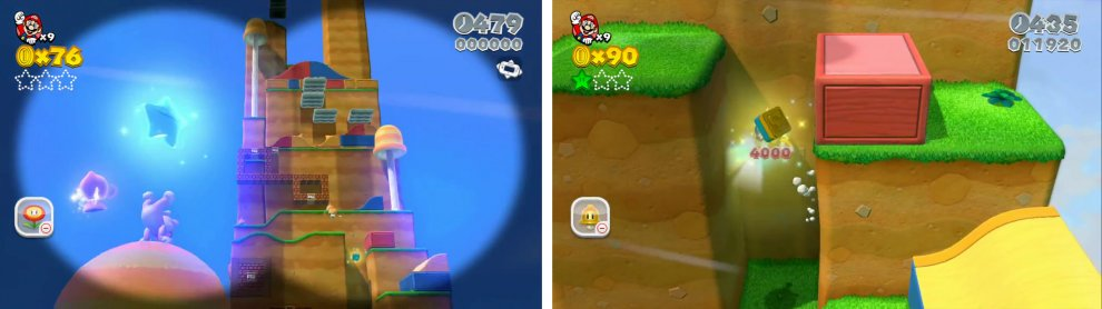 The first Star is at the top of a tree (left). The Stamp can be found in a gap as you climb the level (right).
