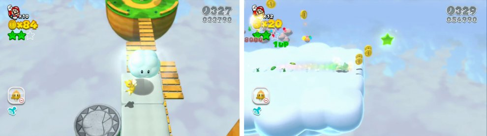 Hop into the Cloud Pipe (left) and you'll find the final Star at the very end of the bonus area.