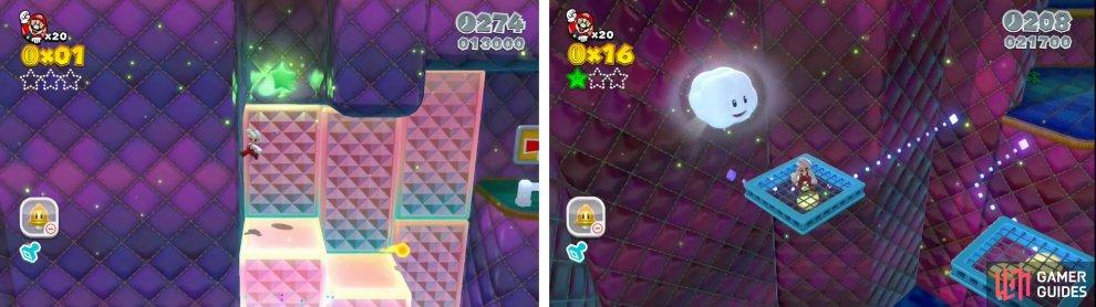 At the top of the moving platforms you can walljump up to the first Star (left). Hop into the Cloud Pipe (right0 and race to the end for another Star.