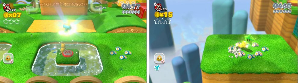 Use the Mario switch for the Stamp (left). Climb the wall to reach the first Star (right).