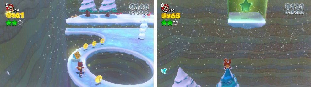 The stamp is on a narrow icy path (left). The final Star is above a tree near the pipe at the back (right).