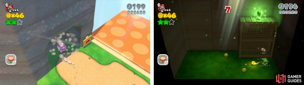 Enter the Mystery Box (left), defeat the Hopchops and use one to spring up to the Star (right).