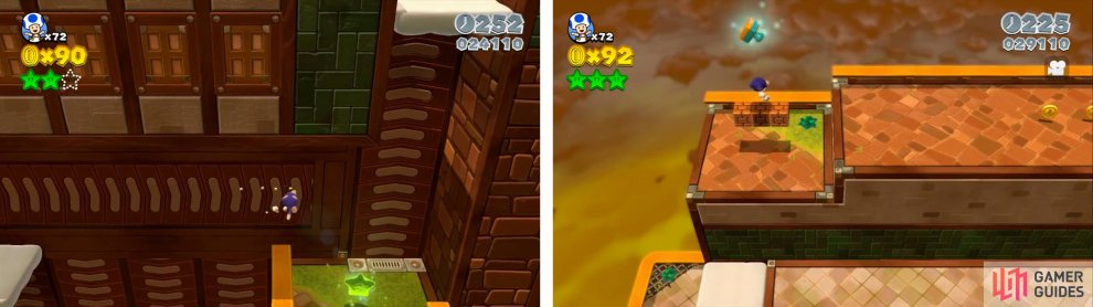 Ride the conveyor all the way to the right for a Star (left). The stamp is found above some blocks nearby (right).