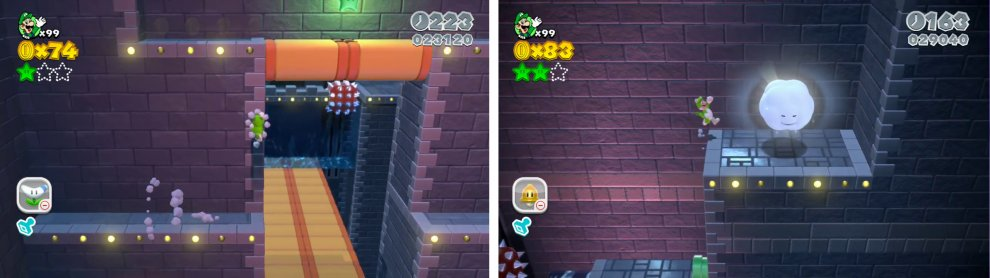 Climb the wall on the far side of the doughnut block bridge for a Star (left). Use the Cloud Pipe (right) to enter a bonus area with a Star at the end.