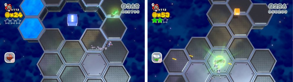 Hit the ! Block with a Boomerang to extend a platform to the first Star (left). Defeat all the enemies in the next area (right) for a Star.