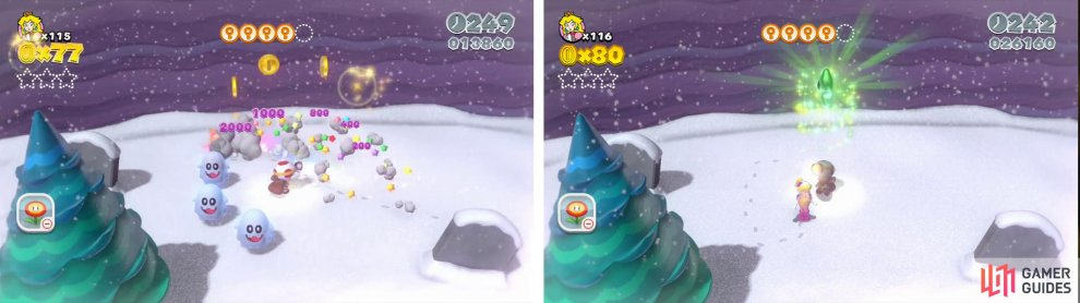 Defeat the enemies chasing Toad for the first Star (right).