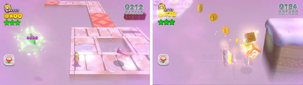 Use snowballs or boomerangs to grab the final Star (left). The Stamp is at the end of a long gap in the fog (right).