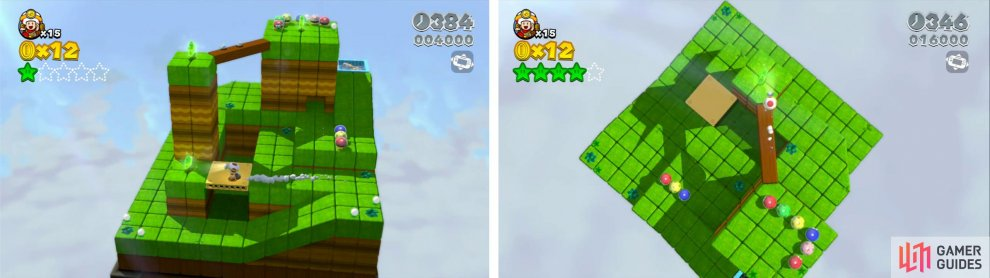 Work your way around the Toad level from bottom to the final Star at the top (right).
