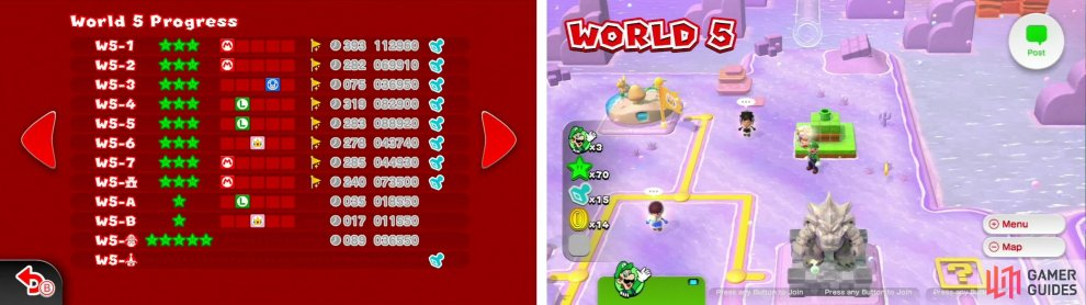 Checklist for the collectibles (left) and the overworld (right).