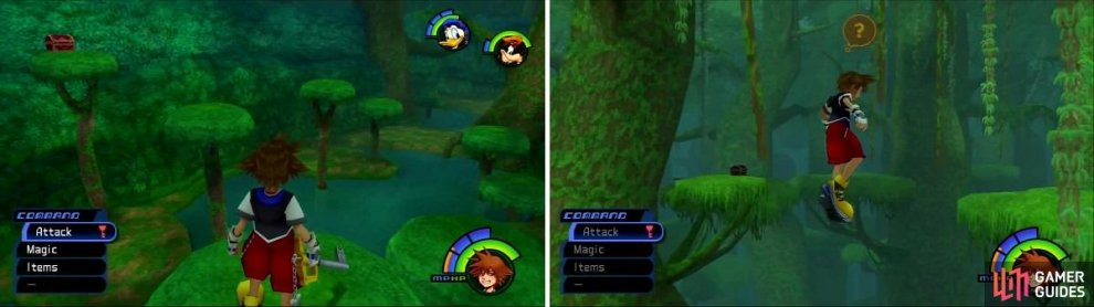 This chest in the Hippo's Lagoon can be reached with a well timed swing of the keyblade. Swing from vine to vine (right) to reach the Chest with Dalmations inside.