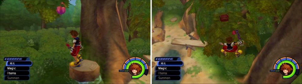 A small geyser grants access to a Rare Nut (left). Jump and swing your keyblade to land by this Chest (right).