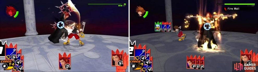 Axel hits Sora with his chakrams (left) after Sora gets in close. Sora fails to break the Fire Wall sleight (right) but avoids any damage.