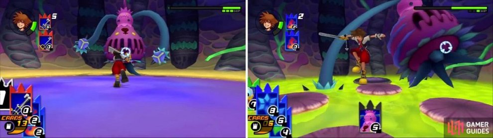 The Gimmick card made it easier for Sora to get close to Parasite Cage (left). The Parasite Cage lunges as Sora jumps away (right).