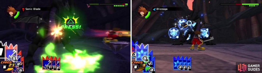 The Gimmick card gives Sora a platform to zoom around on for easy hits on the Dragon (left). Maleficent isn't able to use any cards as Sora keeps breaking her attacks (right).