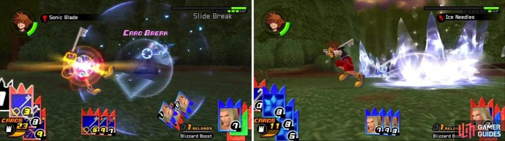 Sora is able to cardbreak Vexen's Slide Break sleight (left), but has to run around to dodge the Ice Needles (right).