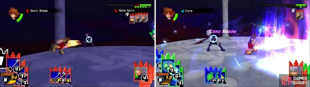 Riku gets hit with Sonic Blade over and over (left) but gets a lucky hit on Sora (right).