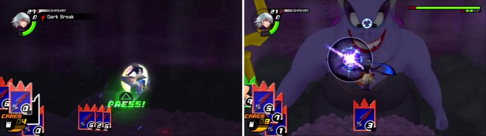 Dark Break can deal decent damage to the tentacles (left). Once the tentacles are finished, Ursula leans in for easy shots (right).