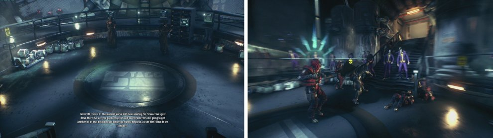 Approach either figure for a scene (left) and then fight off the enemies that appear (right).