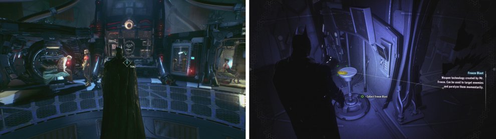 Inside Panessa Studios we can talk to Robin (left) and also find the Freeze Blast gadget (right).