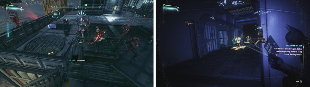 Beat up the enemies on the rooftop (left) before proceeding carefully to the teminal, blinding the Sentry Turrets as you go (right).