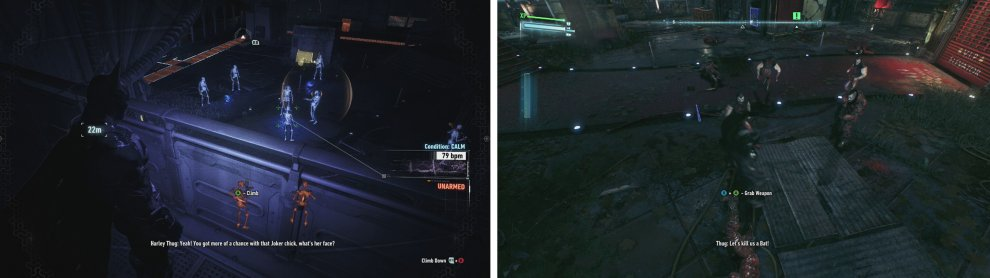 Use the Dirsuptor to disable the guns (left) and then jump in to fight the enemies below (right).