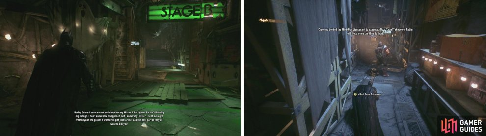 Enter Stage C first (left). Sneak up behind the Minigunner and perform a dual takedown (right).