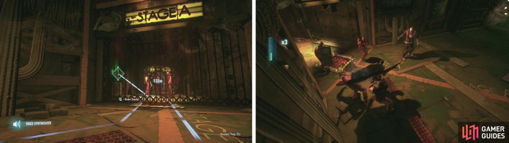 From the vent use the Voice Synthesizer to have a guard open the gate (left) and eliminate the enemies within (right).