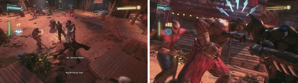 Fight the enemies (left) and then use a dual takedown to damage the boss (right).