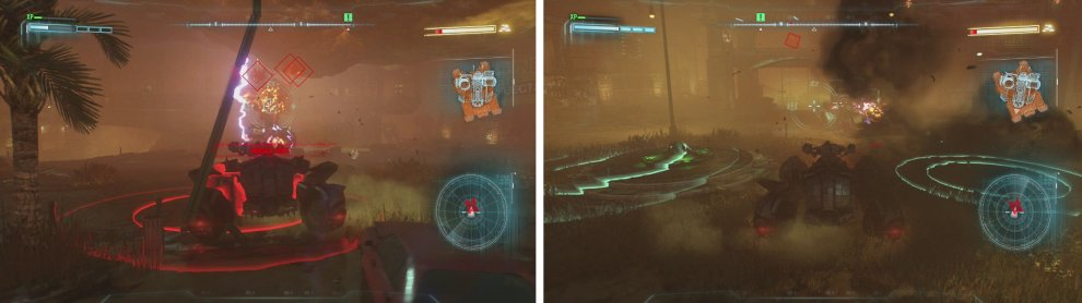 Use dodge to avoid the red grenade indicators and shoot down the missiles (left). Focus on shooting the yellow weak spot on the front of the tank (right).