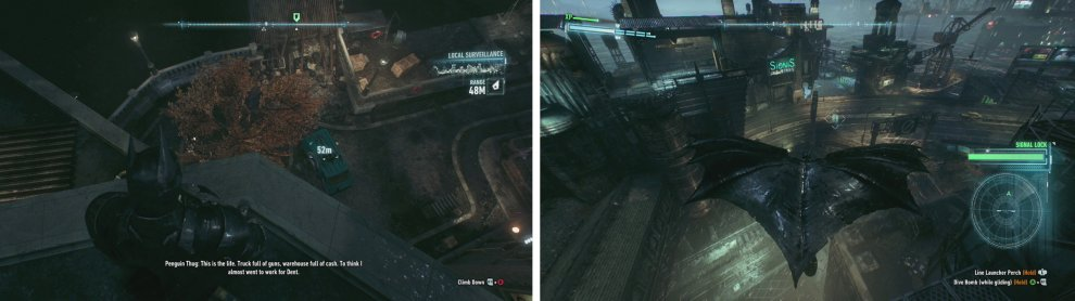 Find and shoot the target van with a Disruptor (left). Follow it to its destination (right).
