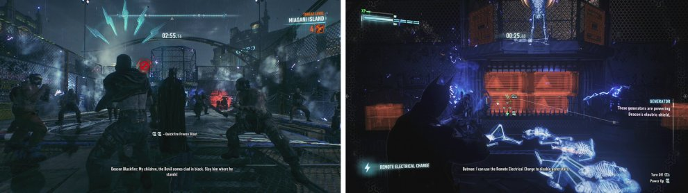 Defeat the enemies in the pit (left) and then use the Remote Electical Charge gadget to disable the four generators (right).