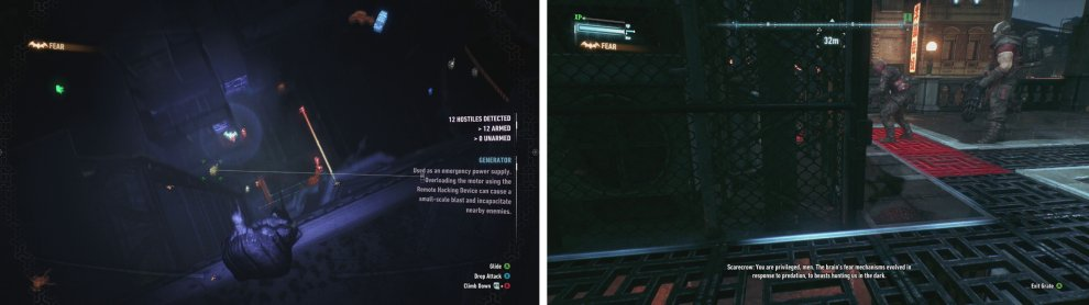 Use vantage points and Detective Mode to scope out each area (left). The underground vent tunnels are a good way to get around areas undetected (right).