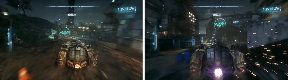 Only pick up the hourglass icons when necessary (left). Make sure you boost up this ramp to make a short jump (right).