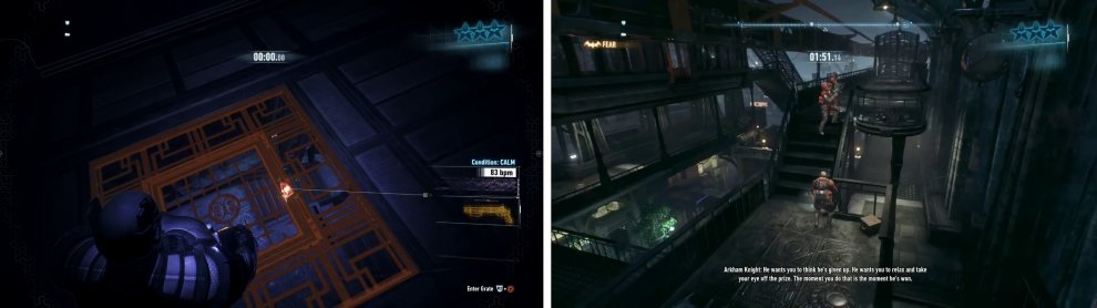 The ceiling grates are especially useful in this challenge (left). Use the Voice Synthesizer to lure enemies together for a Fear Multi-Takedown (right).