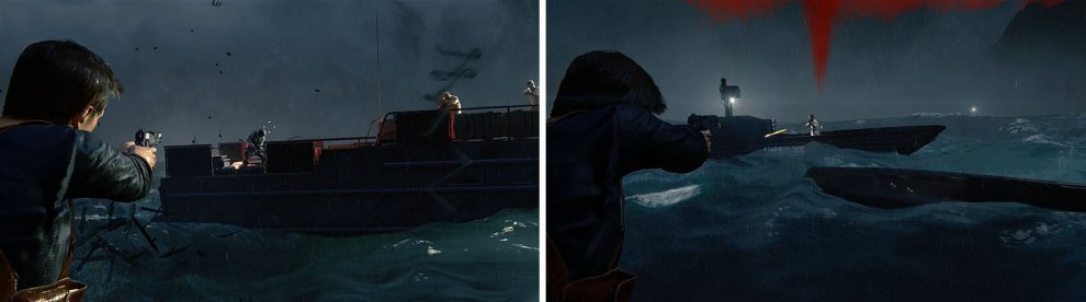 Aim for the Grenade Launcher on the large boat to take it out (left) and then deal with the smaller boats that arrive (right).