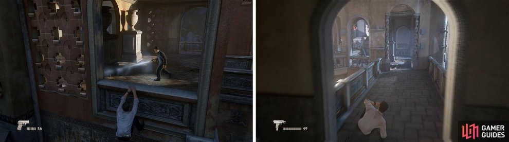Hang from the window and wait for the best chance to hop indoors for some stealth kills (left). The final guard in this area is easy to get behind (right).